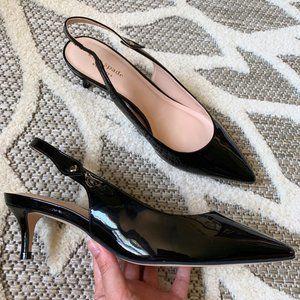 Kate Spade NEW Black Patent Kitten Heels Shiloh 7